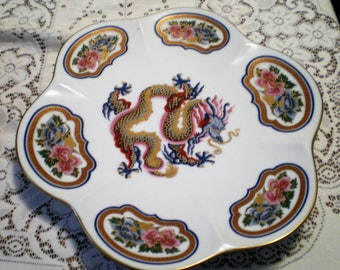 Vintage Elizabeth Arden Chinoiserie Collectible Plate with Dragons**Marked on Back**Limited Edition**
