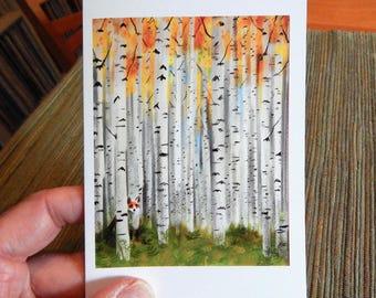 Fox in an Autumn Birch Forest Blank Note Card