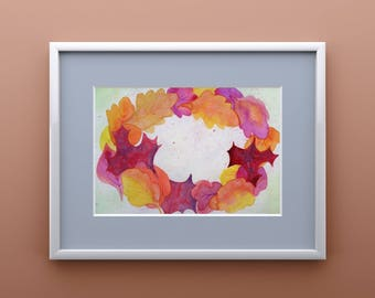 Autumn Wreath - Watercolor Leaves