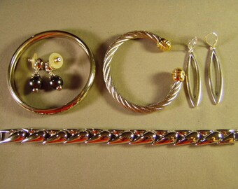 Vintage Lot Joan Rivers Silver Plated Bangle Link & Cuff Bracelets 2 Pairs Pierced Earrings 9279