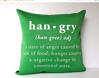 SALE SALE SALE Hangry Pillow decorative pillow / Hangry cushion cover / 16 inch pillow 40cm /cushion hangry defined/ hangry green cushion