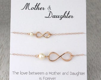 3 Day SALE Mother-Daughter Rose Gold Infinity Bracelet Set, Infinity Pearl Bracelet, Rose Gold Bridal Wedding Gift, Message Card Bracelet