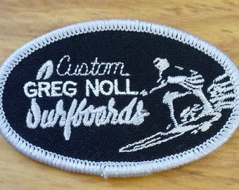 Vintage Patch Custom Greg Noll Surfboards Silver Grey 60's 70's Collectible Fashion Accessory Jean Jacket Patch Rad Beach Surfer Dude