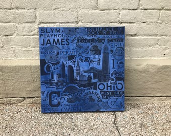 BLUE Cleveland Collage Painting No. 03 on Canvas 17 x 17