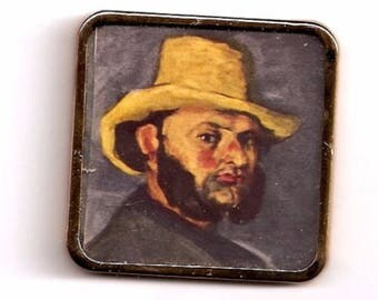 Man with a Straw Hat Cezanne gold color metal frame PRINT miniature 1:12 DollHouse