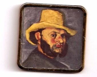 Art Man Straw Hat Cezanne gold color metal frame PRINT miniature 1:12 DollHouse