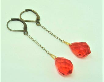Original Art Deco Earrings... Bright Orange Drops... Leverback