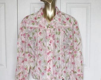 SALE 1960s Sheer Chiffon Floral Blouse . Vintage 60s 70s Pink Floral Blouse . Shirt Collar . Ruffles . Size Large