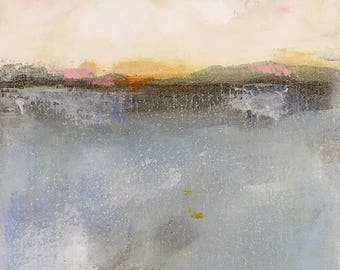 Abstract Seascape Original Painting in Frame - Inverness 2 9 x 12
