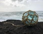 Japanese Glass Fishing Float, Alaska Beachcombed, Original Net