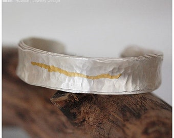 Pure silver & gold CUFF BRACELET made of  hand hammered and shaped