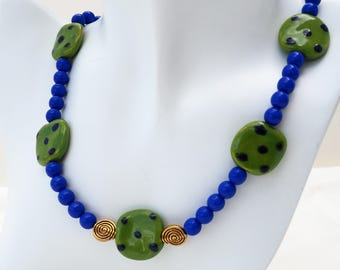 Green & Blue Kazuri Bead Necklace Set, 20 inches
