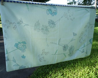Cannon Royal Family vintage standard pillowcase floral with blue background with dark and light blue flowers, Queen Anne's lace green leaves