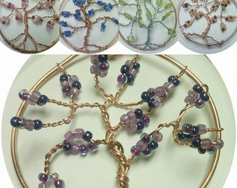 Beaded Tree of Life, Housewarming Art, Hanging Wire Tree of Life,, Metal Garden Wall Art, Mother Earth Tree of Life Art, Window Sun Catcher