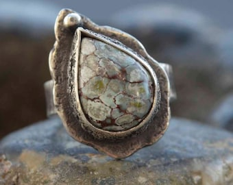 Turquoise Ring Sterling, Raw Silver Ring, Boho Ring, Silversmith, Size 7