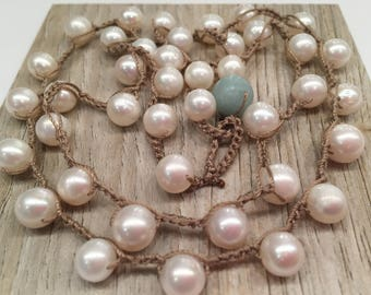 Pearls lovely and luscious long strand crocheted Bohemian Chic Classic Feminine and Fabulous Layer with other necklaces
