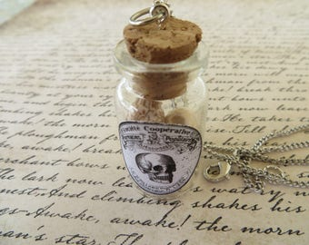 Apothecary Jar Of Skulls Pendant Necklace