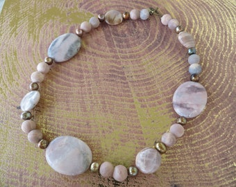 Rhodonite Pink Moonstone And Pearl Beaded Necklace
