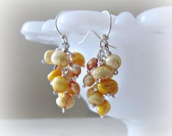 Pearl Cluster Earrings, Freshwater Pearl Dangles, Small Pearl Earrings, Real Pearl Earrings, Sterling Pearl Earrings, Gold Pearl Earrings