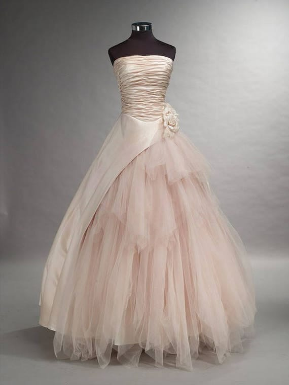 Romantic blush pink wedding dress bridal gown with tulle junglespirit Choice Image