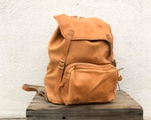 Beckmann Metal Frame Rucksack Backpack Vintage Distressed Tan Leather Medium Military Made in Norway