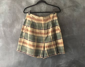80s 90s Pleasted Linen Plaid Trouser Shorts Woven Plaid Express High Waisted Cuffed Summer Modern Shorts Ladies Size 28