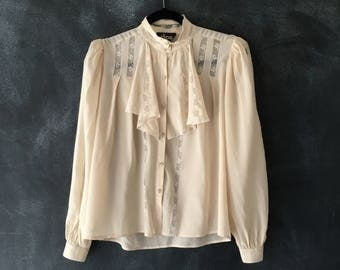 80s Silk Lace Ruffle Blouse Sheer Princess Sleeve Cuffed Victorian Embroidered Pirate Ethnic Top Ladies S/M