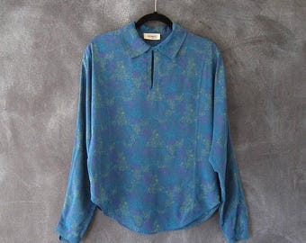 20% Off Sale 80s Missoni Donna Silk Abstract Print Secretary Blouse Tunic Top Dolman Sleeves Ladies Size 8/M