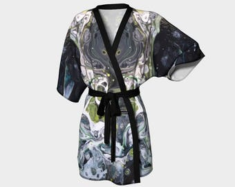 Kimono Robe, Dressing Gown, Black, Green, Lounge Wear, Boho, After Midnight Pattern 614