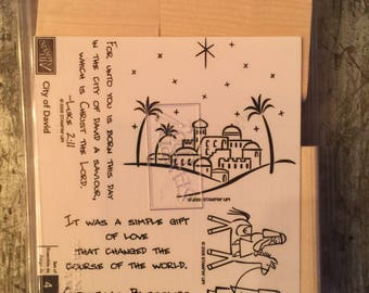 Rare Retired Stampin Up City if David  Stamp Set