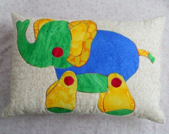 Baby Elephant Pillow for Kids Red Green Yellow Blue