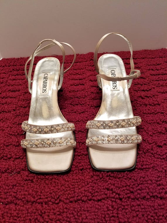 Strappy Glittery Beaded Dressy Heels - Champagne Color - Satin Fabric Cover - Like New Condition - Worn One Time