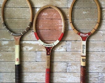 Vintage Tennis Rackets Wooden Set of 3