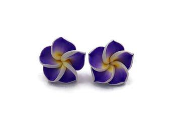 Purple Hawaiian Flower Earrings - Plumeria - Tropical Rockabilly, Retro, Tiki, Pinup - Nickel Free