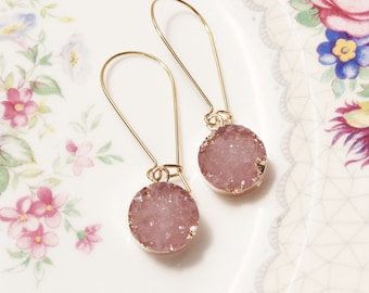 Gift Druzy drop earrings Druzy earrings Pink druzy earrings Druzy dangle earrings Gold druzy earrings Bridesmaid earrings Bridal earrings