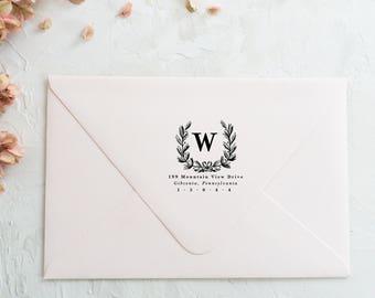 Return Address Stamp Monogram Address Stamp, Return Address Stamp Wedding Stamp Wreath, Return Address Stamp Floral, Custom Stamp Wedding