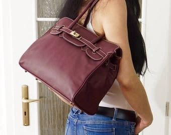 Aubergine Leather Handbag, Leather crossbody bag, Leather shoulder bag, Leather purse, Leather Messenger, Ilita