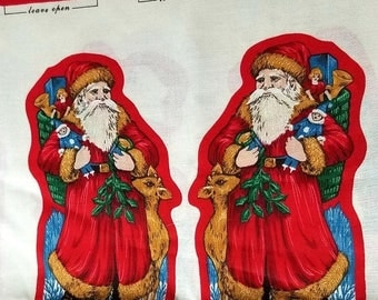 Yearly Big Sale: Vintage Cloth Christmas Santa Claus Ornament Cut Outs, VIP Cranston Cotton Fabric Panels, 12 Uncut Ornaments to Sew