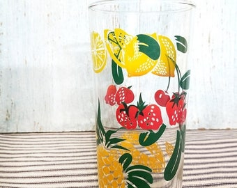 Yearly Big Sale: Vintage Juice Glass with Fruits and Berries, Retro Tumbler Strawberry Peach Lemon, Farmhouse Kitchen