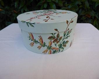 Pale green flowered band box, wallpaper box, fashion plate interior, 19th century repro