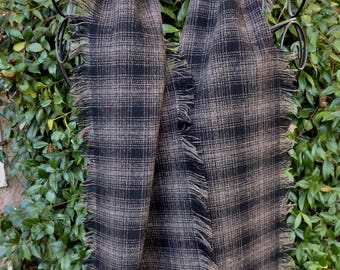 Black and brown plaid wool scarf, hand fringed