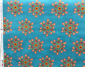 Anna Maria Horner Lou Lou Flannel Flower Go Round teal fabric FQ or more