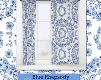 Pretty window decor curtains drapes panels  in Blue Rhapsody floral pattern by designer Patricia Shea
