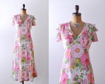 1970's floral chiffon dress. L. 70 print dress. long. green yellow pink dress.