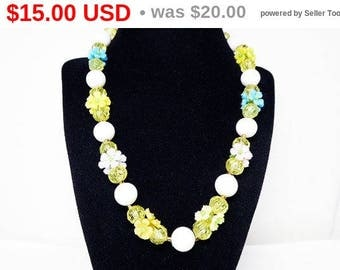 Mid Century Flowers & Beads Necklace - White Beads - Yellow Faceted Beads - Yellow, Pink, Purple, Blue, Orange Flowers - Vintage 1940s 1950s