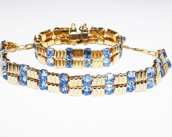 Vintage MOD Rhinestone Necklace Bracelet Set - Blue Emerald Cut Rhinestones - Gold Tone Vertical Striped Links - Vintage 1960s 1970s Jewelry