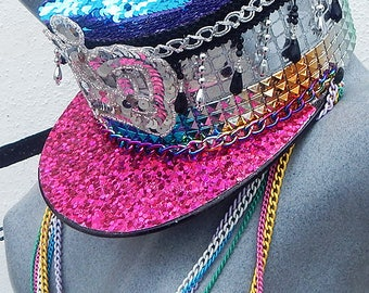 FESTIVAL HAT, Unisex Burning Man Hat, Military Officers Hat, Custom Handmade Bling Captains Cap - Burner Playa Cap