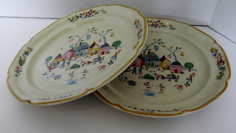 International Tableworks Heartland Village Two Dinner Plates Stoneware Thailand & International Tableworks Heartland Village Two Dinner Plates ...