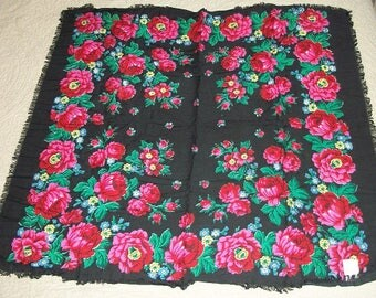 Vintage Beautiful Head Neck Scarf Never Used Original Price Tag Spun Rayon Muslin Made in Japan Floral Black Red Green Yellow