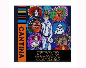 Star Wars Lover Ceramic Art Tile by artist Heather Galler George Lucas Darth Vader Yoda Luke Skywalker Obi-Wan Kenobi